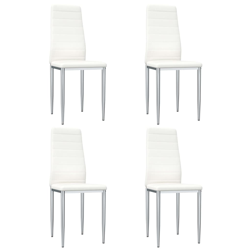 Dining Chairs, Faux Leather Upholstery, Metal Chrome,White (Set of 4)