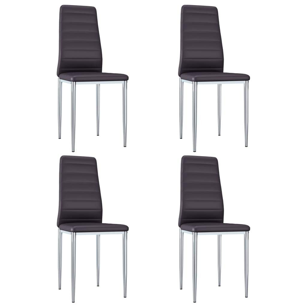 Dining Chairs, Faux Leather Upholstery, Metal Chrome, Brown (Set of 4)