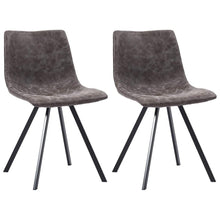 Load image into Gallery viewer, Dining Chairs, Faux Leather, Powder Coated Metal Legs, Brown (Set of 2)