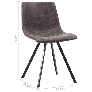 Dining Chairs, Faux Leather, Powder Coated Metal Legs, Brown (Set of 2)