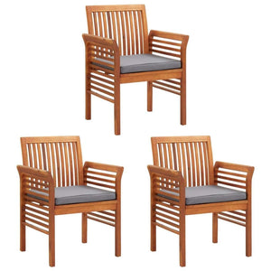 Garden Dining Chairs with Cushions, Solid Acacia Wood, Brown Frame, Dark Grey Cushion (Set of 3)