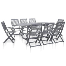 Load image into Gallery viewer, Garden Dining Set, Solid Acacia Wood, Grey (9 Piece)