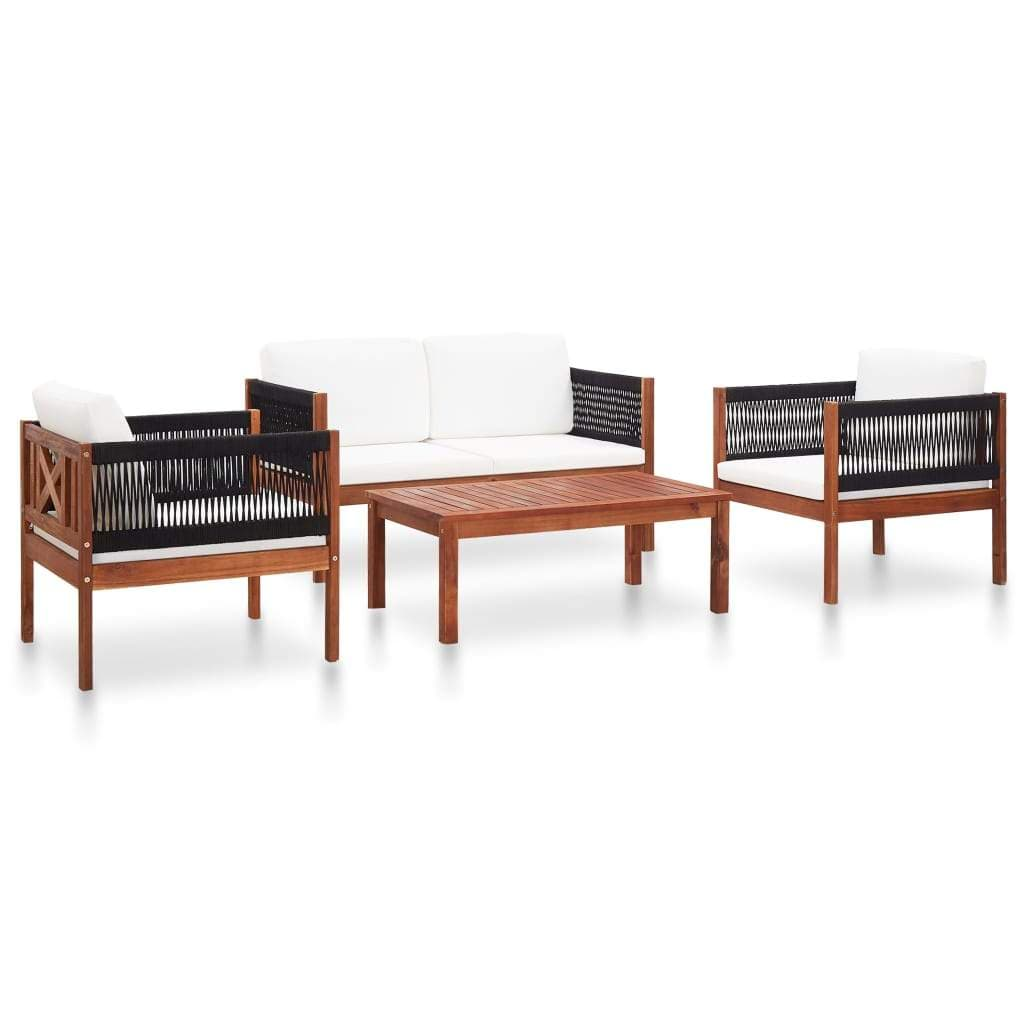 Garden Lounge Set, 4-Piece, Solid Acacia Wood