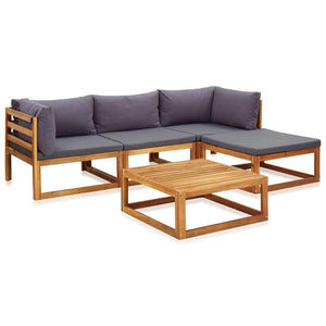 Garden Lounge Set, 5 Piece, with Cushions, Solid Acacia Wood