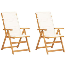 Load image into Gallery viewer, Reclining Garden Chairs, Solid Acacia Wood, Creamy White (Set of 2)