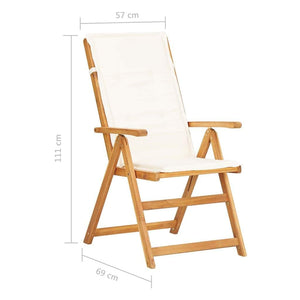Reclining Garden Chairs, Solid Acacia Wood, Creamy White (Set of 2)