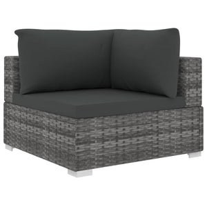 Garden Lounge Set, 11 Piece, with Cushions, Poly Rattan, Grey