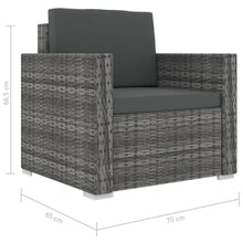 Load image into Gallery viewer, Garden Lounge Set, 11 Piece, with Cushions, Poly Rattan, Grey