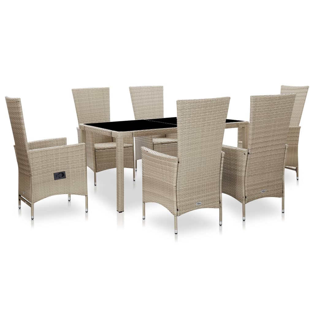 Outdoor Dining Set, 7 Piece, with Cushions, Poly Rattan, Beige