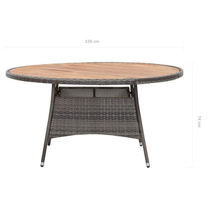 Garden Table, Poly Rattan and Acacia Wood, Grey, 15074cm