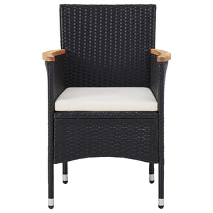 Garden Dining Chairs, Poly Rattan, Black (Set of 2)