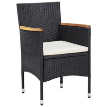 Load image into Gallery viewer, Outdoor Dining Set, Poly Rattan and Acacia Wood, Powder Coated Steel Frame, Black (9 Piece)