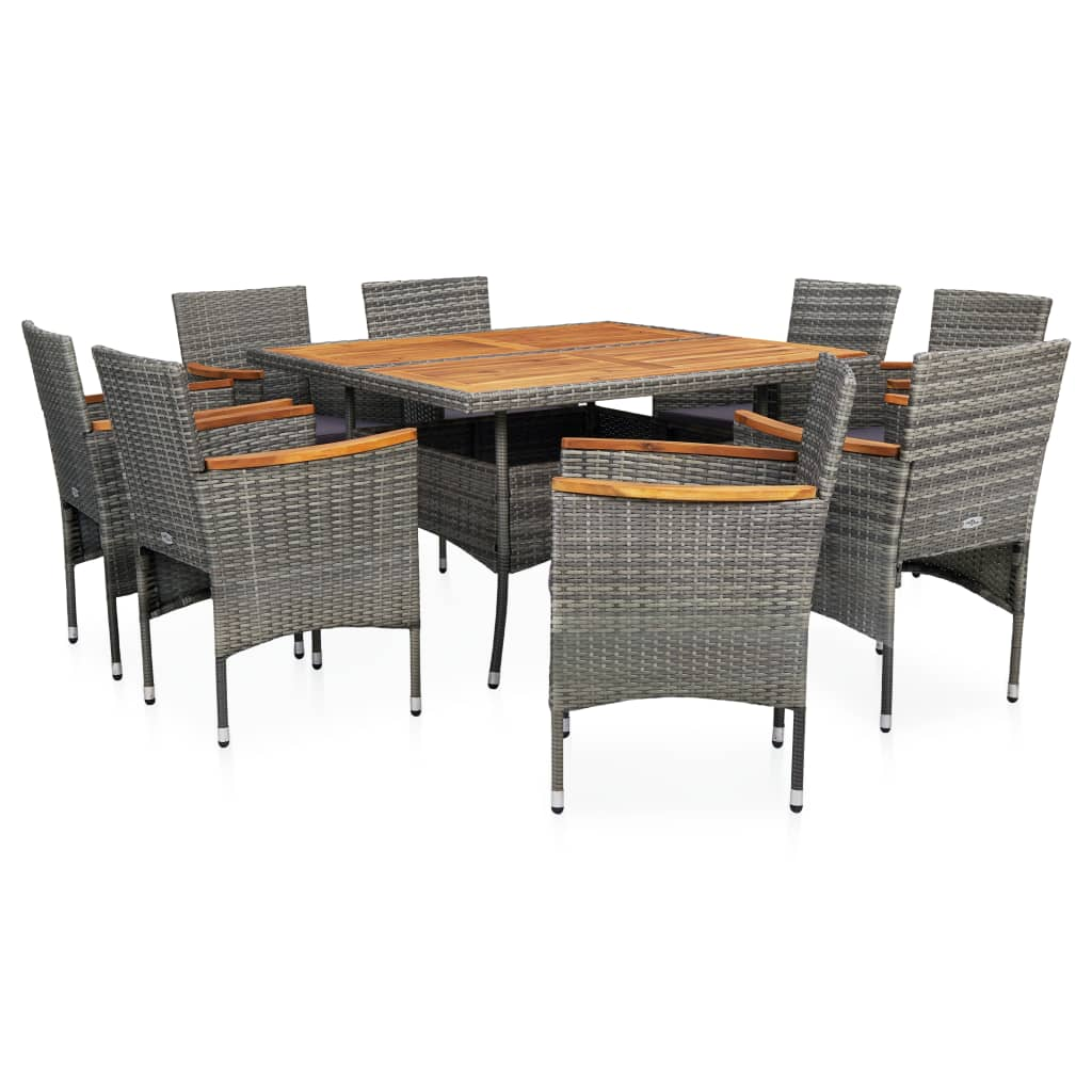 Outdoor Dining Set, Poly Rattan and Acacia Wood, Powder Coated Steel Frame, Grey (9 Piece)