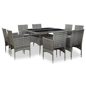 Outdoor Dining Set, 9 Piece, Poly Rattan and Glass, Grey