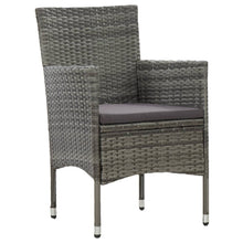 Load image into Gallery viewer, Outdoor Dining Set, 9 Piece, Poly Rattan and Glass, Grey