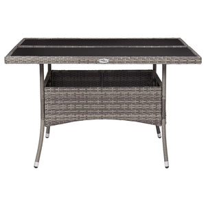 Outdoor Dining Table, Poly Rattan and Glass, Steel Frame, Grey