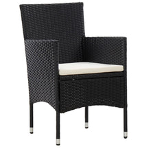 Load image into Gallery viewer, Bistro Set, 3 Piece, Poly Rattan and Tempered Glass, Black