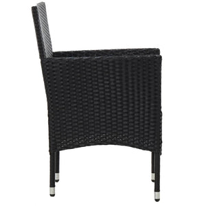 Bistro Set, 3 Piece, Poly Rattan and Tempered Glass, Black