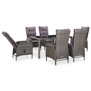 Outdoor Dining Set, Poly Rattan and Tempered Glass, Grey (7 Piece)