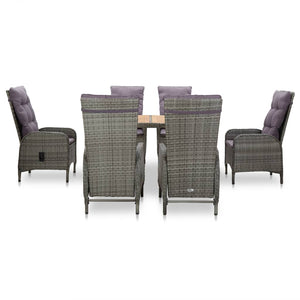Outdoor Dining Set, 7 Piece, Poly Rattan and Acacia Wood, Grey and Light Wood