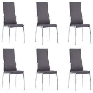 Dining Chairs, Faux Leather Upholstery, Wood Legs, Grey (Set of 6)
