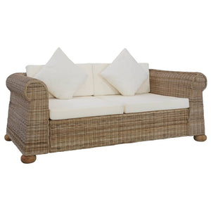 Sofa Set with Cushions, 3 Piece, Natural Rattan and Solid Mango Wood, Cream White