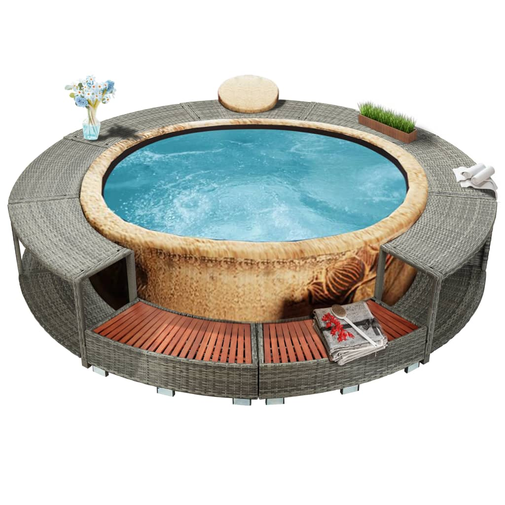 Spa Surround, Poly Rattan, Grey