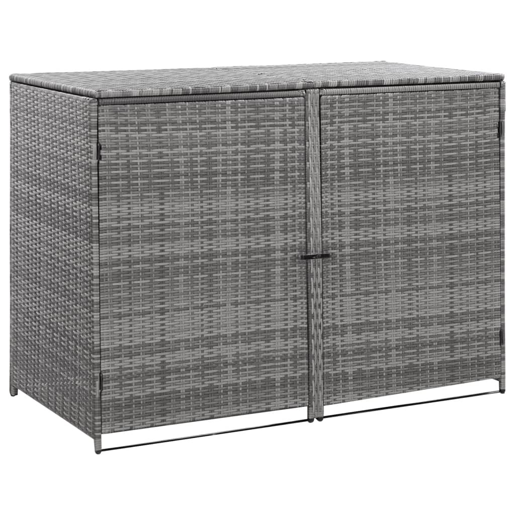 Double Wheelie Bin Shed, Poly Rattan, Anthracite, 148x77x111cm