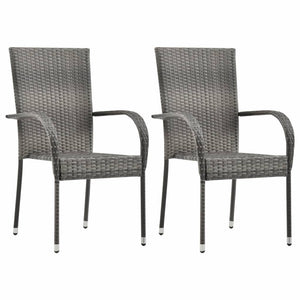 Stackable Outdoor Chairs, Poly Rattan, Grey (Set of 2)