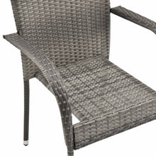 Load image into Gallery viewer, Stackable Outdoor Chairs, Poly Rattan, Grey (Set of 2)