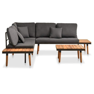 Garden Lounge Set, 4 Piece, with Cushions, Solid Acacia Wood, Dark Grey