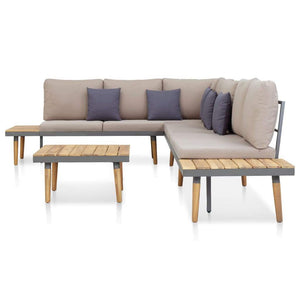 Garden Lounge Set, 5 Piece, with Cushions, Solid Acacia Wood, Brown and Grey