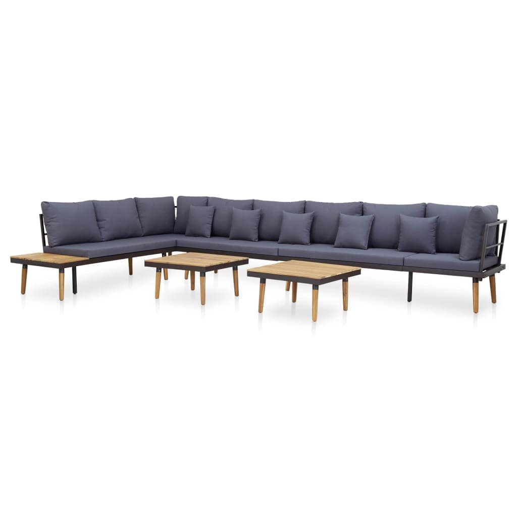Garden Lounge Set, 7 Piece, with Cushions, Solid Acacia Wood, Natural Wood, Grey, Anthracite
