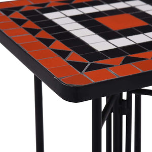 Mosaic Side Table, Ceramic, Terracotta and White