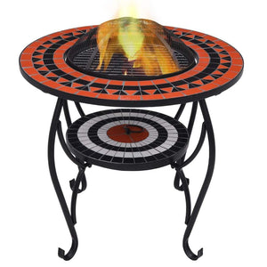 Mosaic Fire Pit Table, Ceramic, Terracotta and White, 68cm