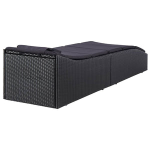 Sunbed with Cushion, Adjustable Backrest, Poly Rattan, Black
