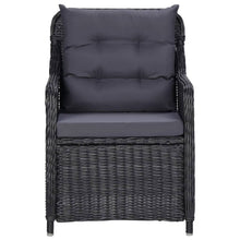 Load image into Gallery viewer, Garden Chairs with Cushions, Poly Rattan, Black and Dark Grey (Set of 2)