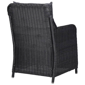 Garden Chairs with Cushions, Poly Rattan, Black and Dark Grey (Set of 2)