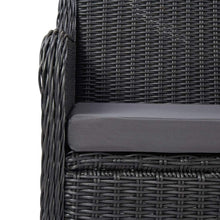 Load image into Gallery viewer, Garden Bistro Set, 3 Piece, with Cushions, Poly Rattan, Black