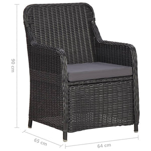 Garden Bistro Set, 3 Piece, with Cushions, Poly Rattan, Black