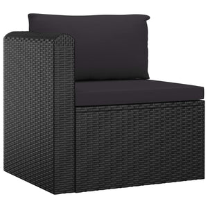 Garden Lounge Set with Cushions, 7 Piece, Poly Rattan, Black