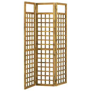 Room Divider/Trellis, 3-Panel, Solid Acacia Wood, 120x170cm