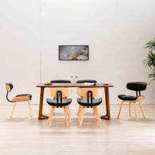 Load image into Gallery viewer, Dining Chairs, Modern, Bent Wood and Faux Leather, Black (Set of 6)