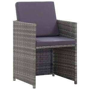 Bistro Set with Cushions, 3 Piece, Poly Rattan, Grey and Anthracite