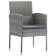 Load image into Gallery viewer, Outdoor Dining Set, 5 Piece, with Cushions, Poly Rattan, Grey and Light Wood