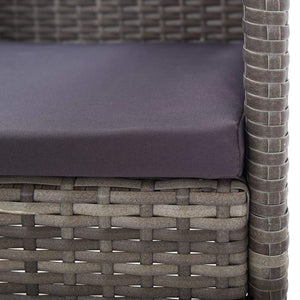 Outdoor Dining Set, 5 Piece, with Cushions, Poly Rattan, Grey and Light Wood