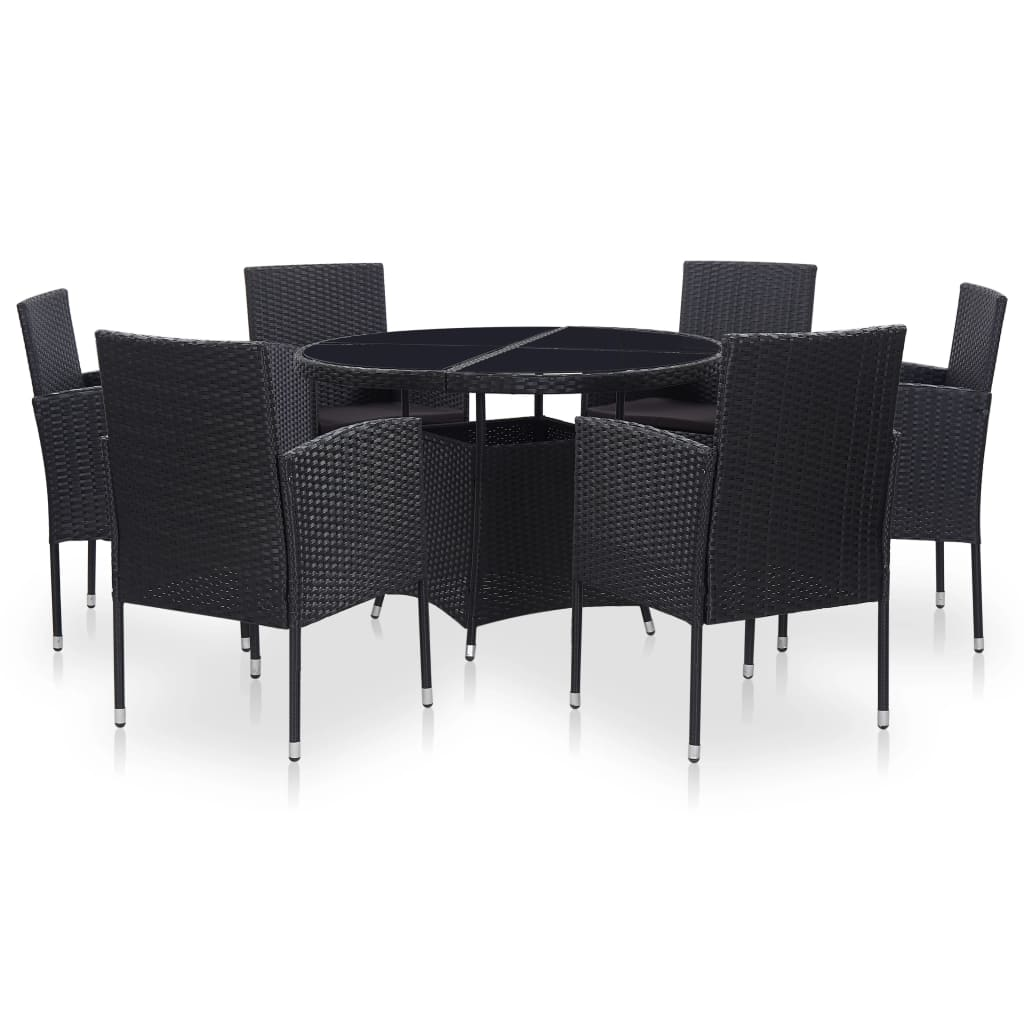 Outdoor Dining Set, 7 Piece, with Cushions, Poly Rattan, Steel, Black