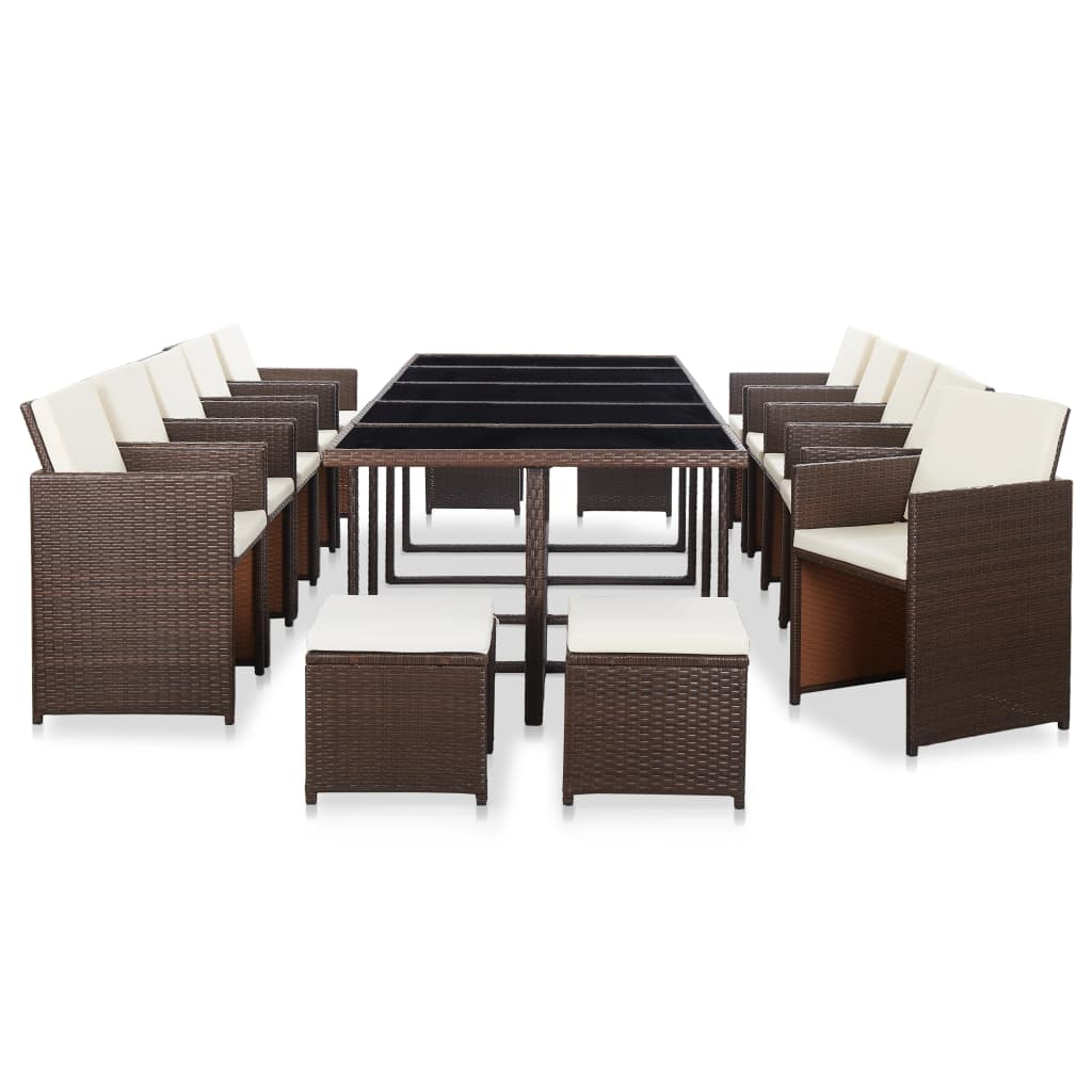 Outdoor Dining Set, 15 Piece, with Cushions, Poly Rattan, Brown