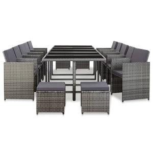 Outdoor Dining Set, 15 Piece, with Cushions, Poly Rattan, Anthracite