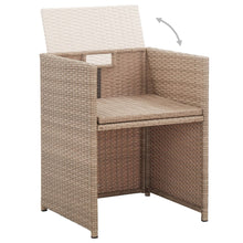 Load image into Gallery viewer, Outdoor Dining Set, 17 Piece, with Cushions, Poly Rattan, Beige